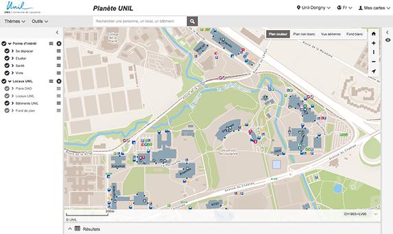 Planète UNIL - Accès aux plans interactifs de l'UNIL