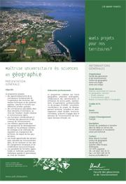 Maîtrise universitaire ès Sciences en géographie, PDF, 142 Kb