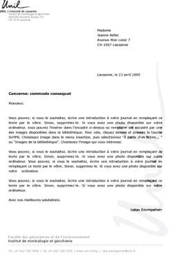 lettre type suisse Papier à lettre   UNIL Logo lettre type suisse