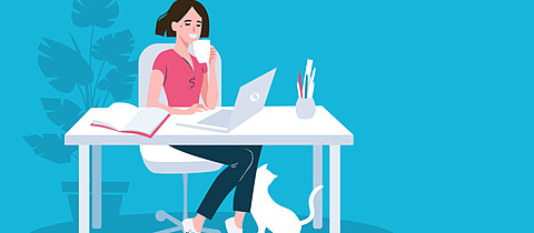Woman using laptop flat vector illustration